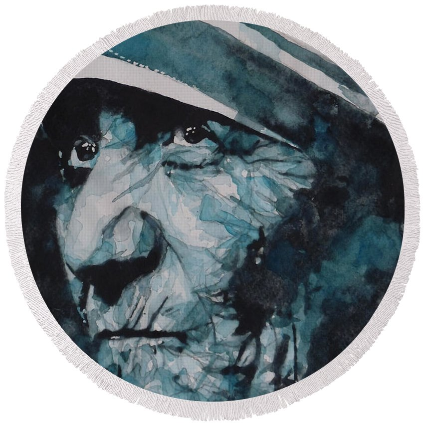 Mother Teresa Round Beach Towel featuring the painting Mother Teresa by Paul Lovering