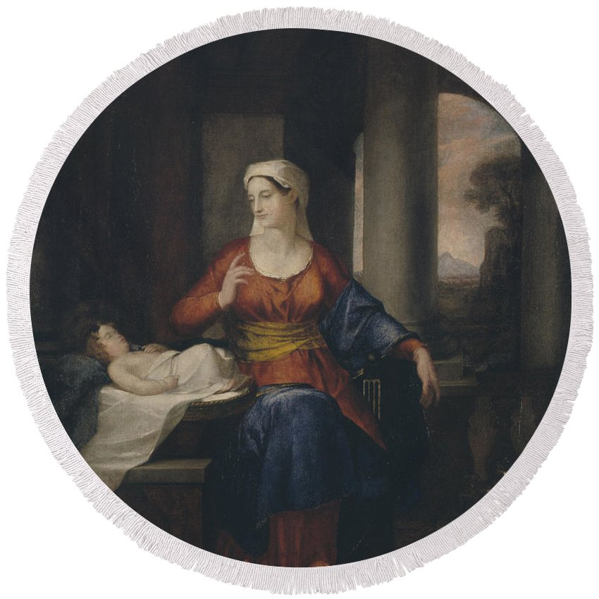 Washington Allston Round Beach Towel featuring the painting Mother Watching Her Child by Washington Allston