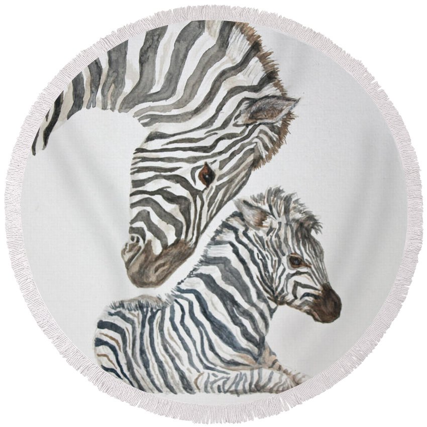 Zebras Round Beach Towel featuring the painting Motherly Love by Carol Luzzi