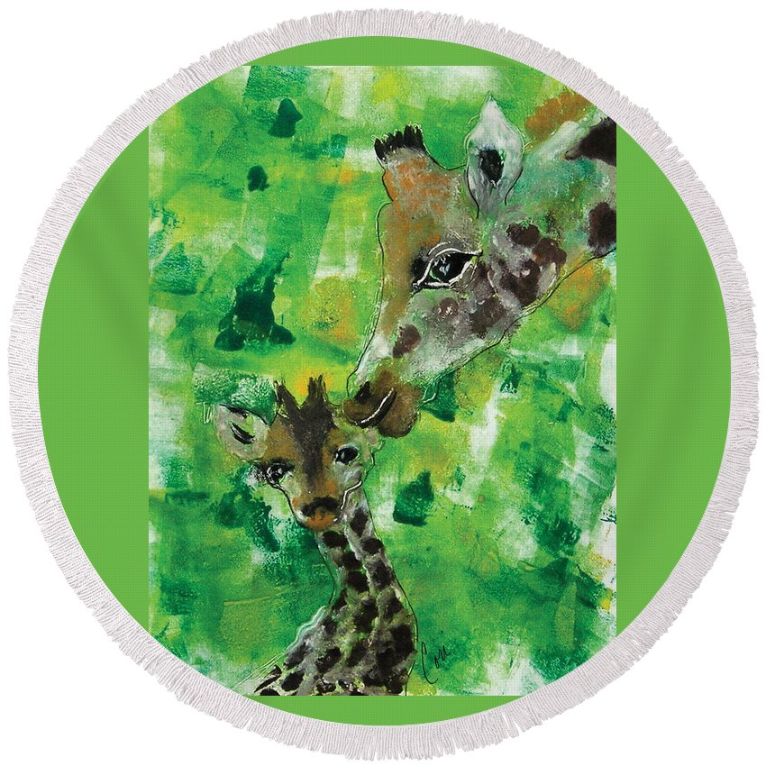 Giraffes Round Beach Towel featuring the mixed media Motherly Love by Cori Solomon