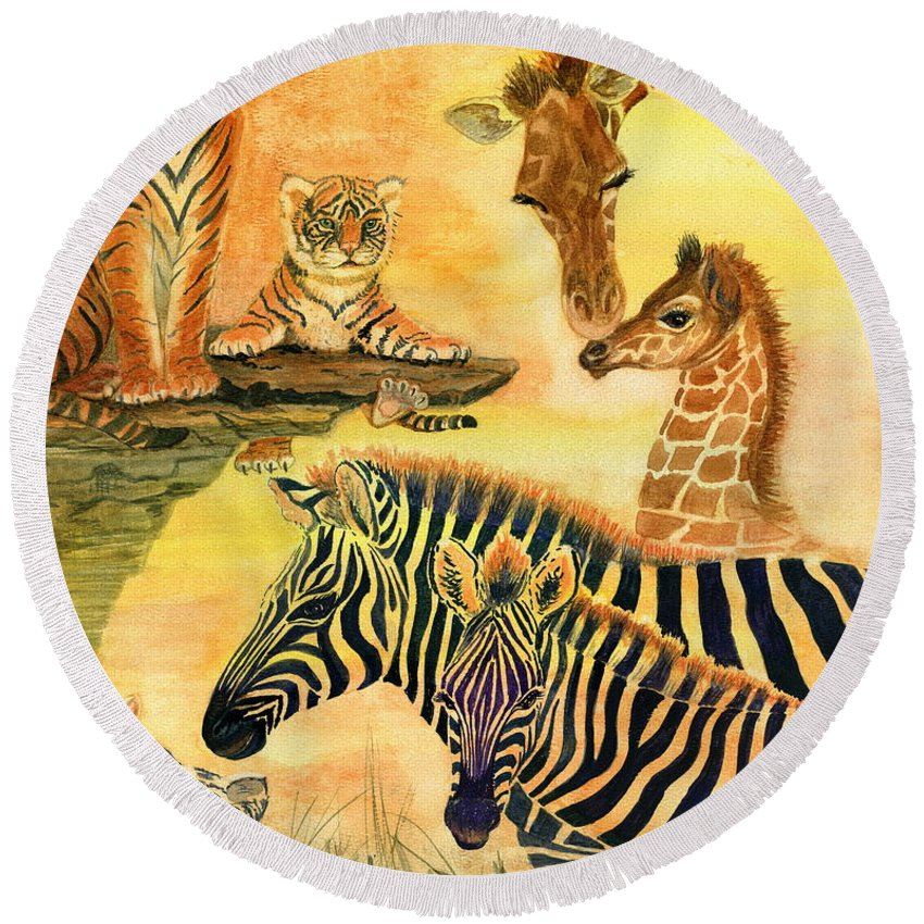 Wild Animals Round Beach Towel featuring the painting Mother's Day In The Wild Kingdom by Marilyn Smith
