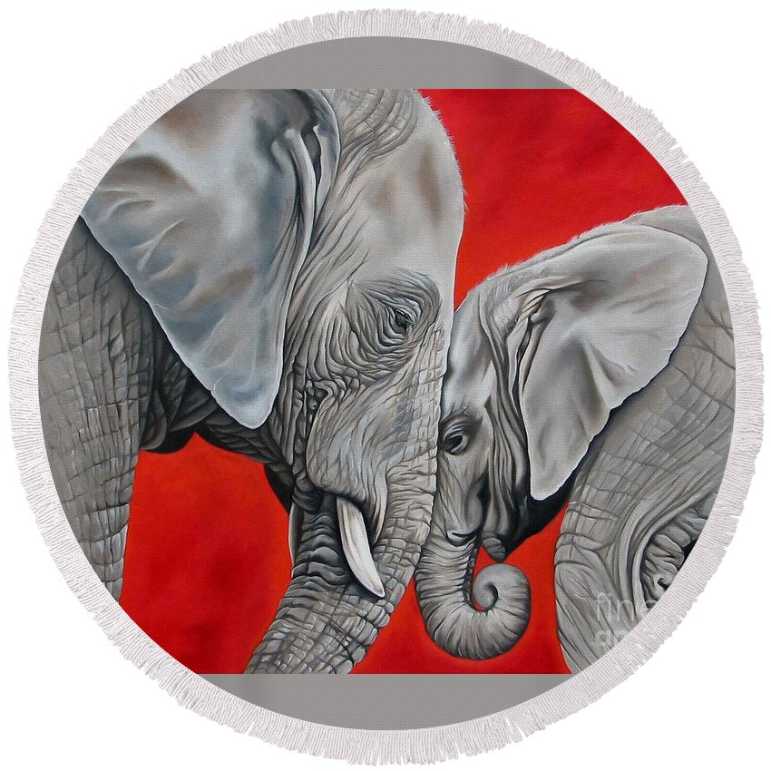 Elephant Round Beach Towel featuring the painting Mothers Love by Ilse Kleyn