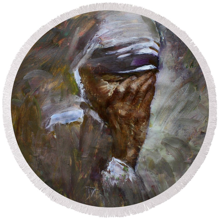 Mother Teresa Round Beach Towel featuring the painting Mother's Pain by Ylli Haruni