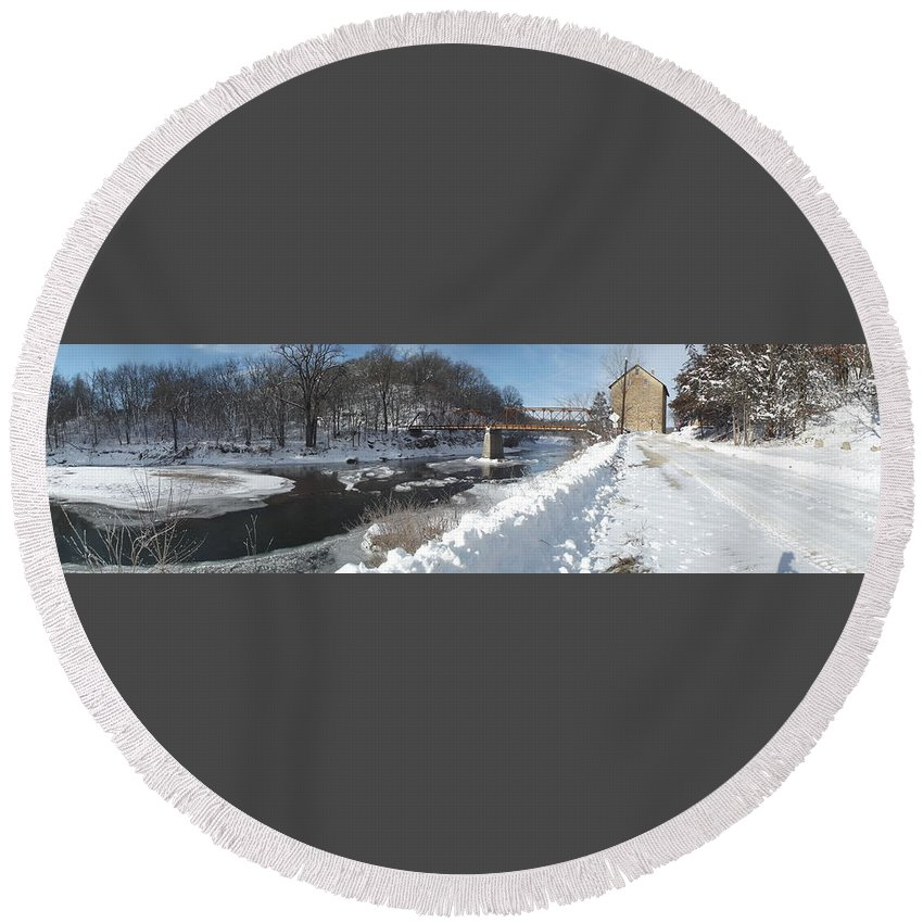 Elkader Iowa Round Beach Towel featuring the photograph Motor Mill Pano by Bonfire Photography
