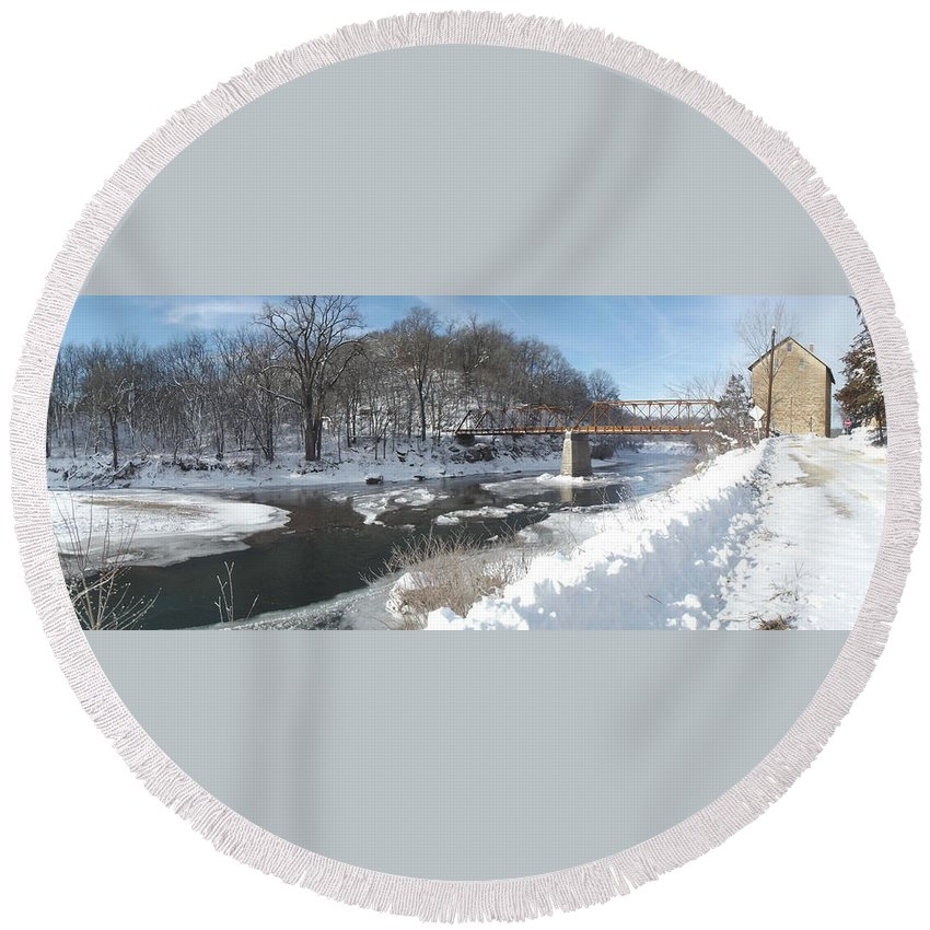 Elkader Iowa Round Beach Towel featuring the photograph Motor Mill Winter Pano by Bonfire Photography