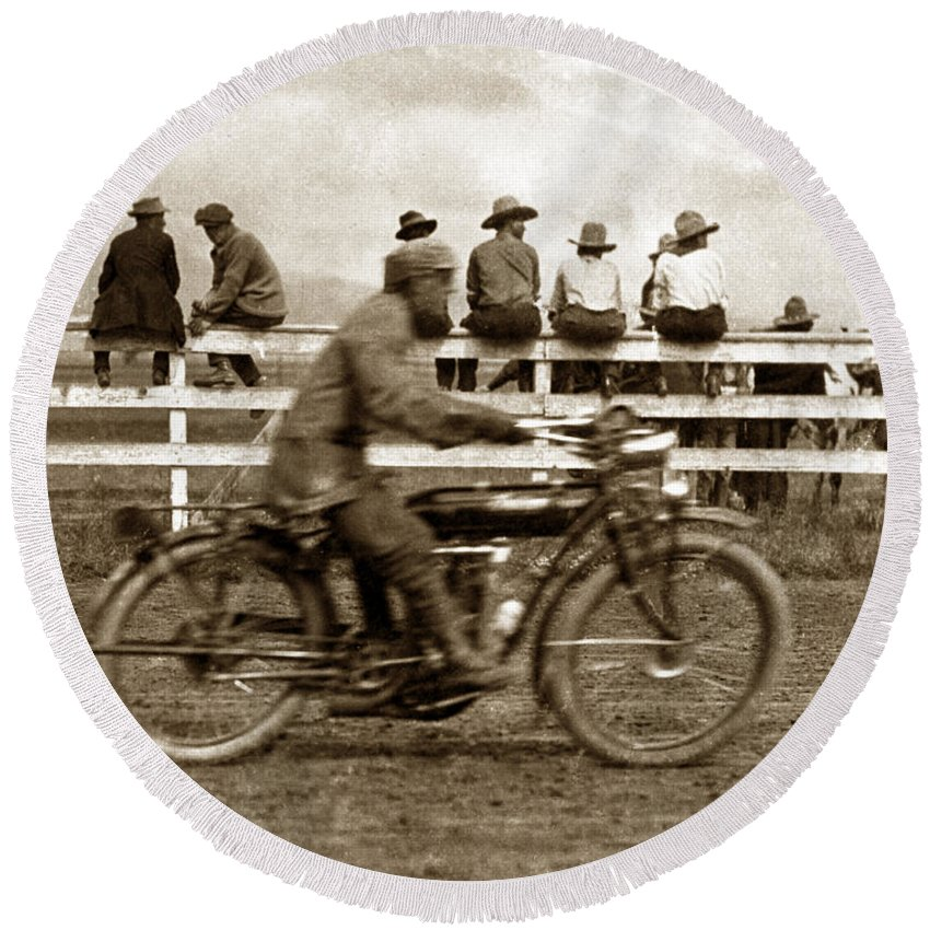 Motorcycle Round Beach Towel featuring the photograph Motorcycle At Salinas California Rodeo Grounds Circa 1910 by California Views Archives Mr Pat Hathaway Archives