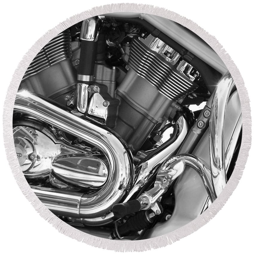 Motorcycles Round Beach Towel featuring the photograph Motorcycle Close-up Bw 1 by Anita Burgermeister