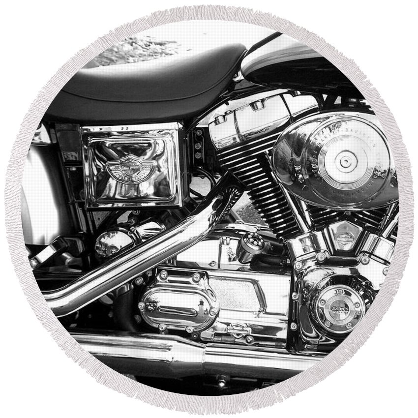 Motorcycles Round Beach Towel featuring the photograph Motorcycle Close-up Bw 3 by Anita Burgermeister