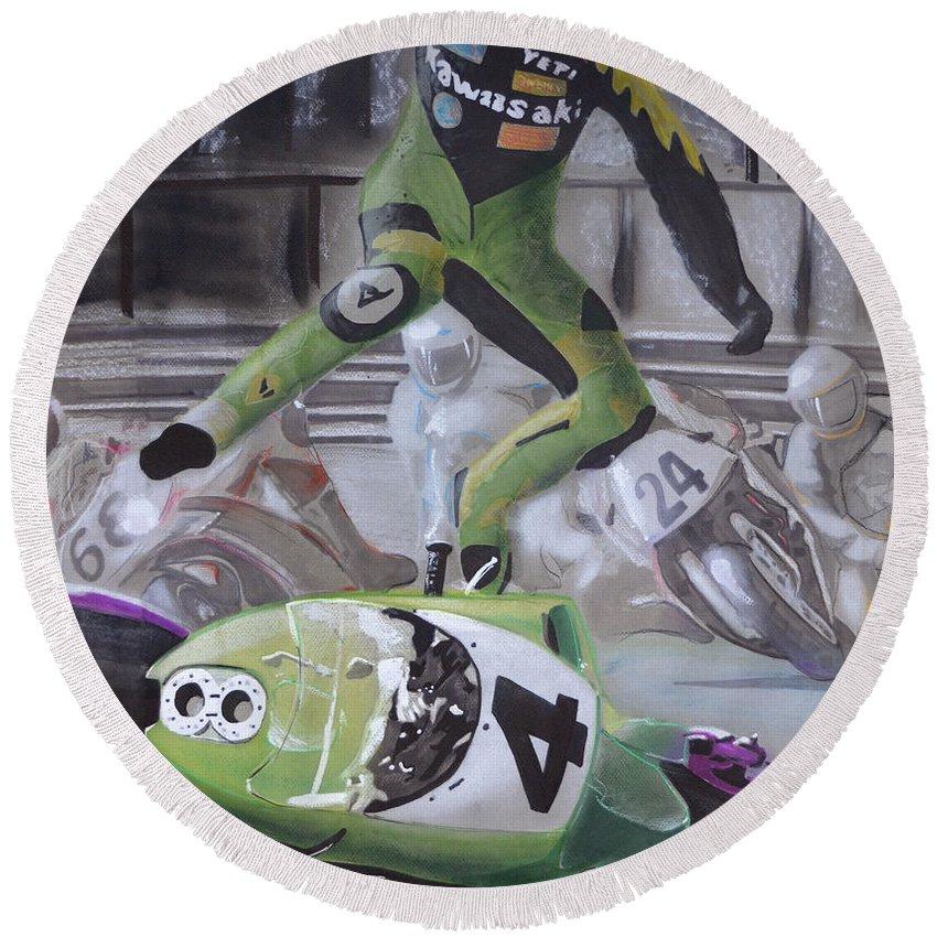 Motorcycle Round Beach Towel featuring the drawing Kawasaki Motorcycle Crash by Paul Kuras