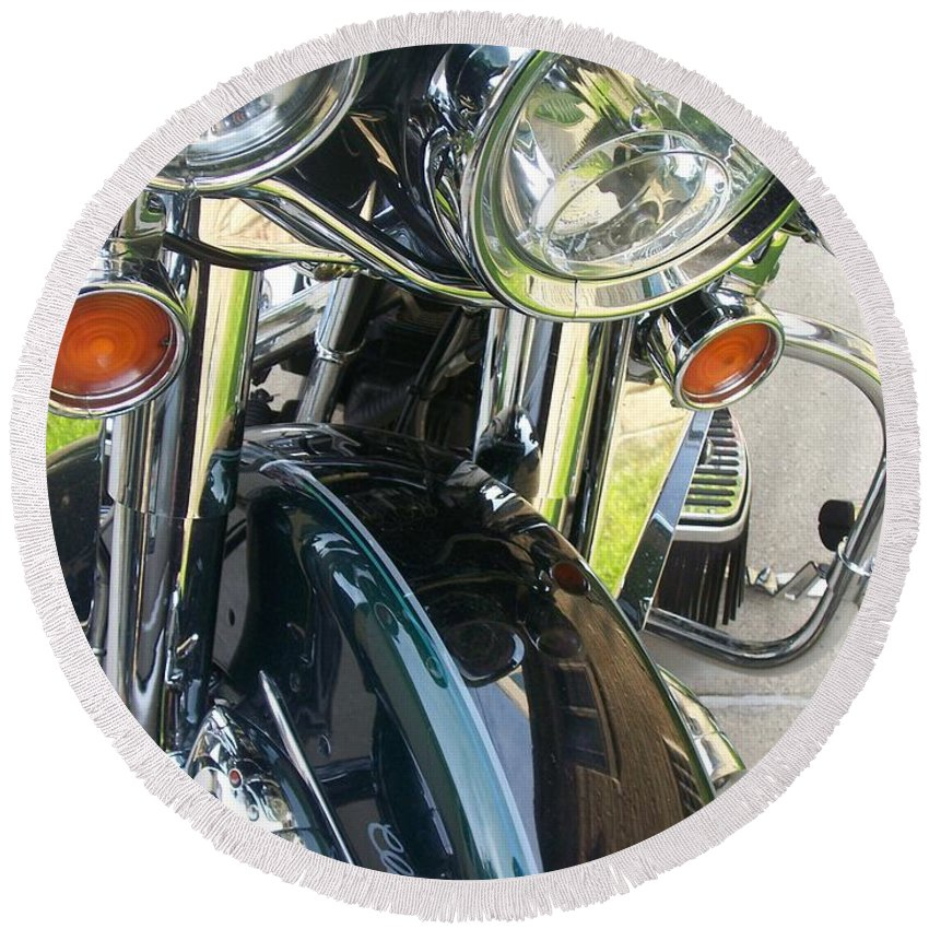 Motorcycles Round Beach Towel featuring the photograph Motorcyle Classic Headlight by Anita Burgermeister