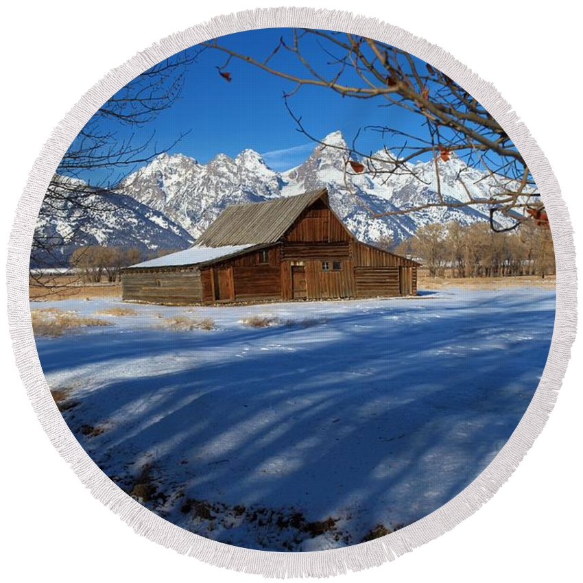 Grand Teton National Park Round Beach Towel featuring the photograph Moulton Barn by Adam Jewell