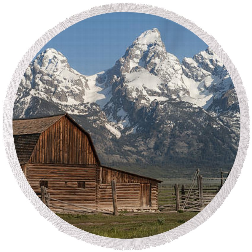 Grand Teton Round Beach Towel featuring the photograph Moulton Barn - Grand Tetons I by Sandra Bronstein