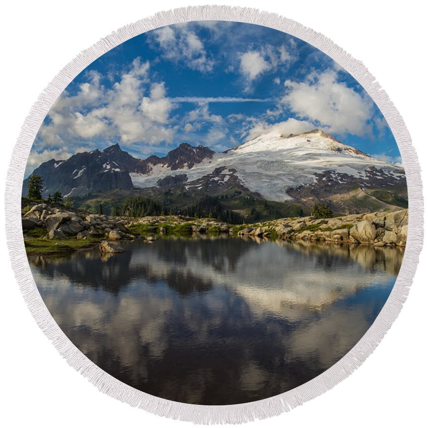 Baker Round Beach Towel featuring the photograph Mount Baker Cloudscape by Mike Reid
