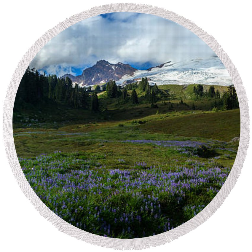 Baker Round Beach Towel featuring the photograph Mount Baker Lupine Meadows by Mike Reid