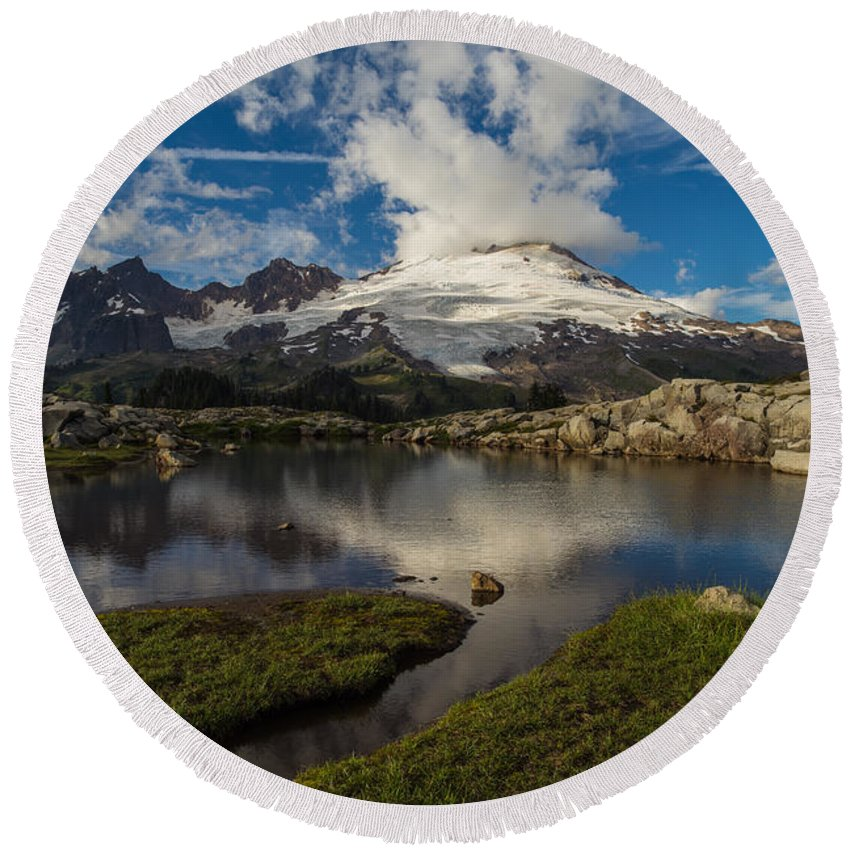 Baker Round Beach Towel featuring the photograph Mount Baker Skies Reflection by Mike Reid