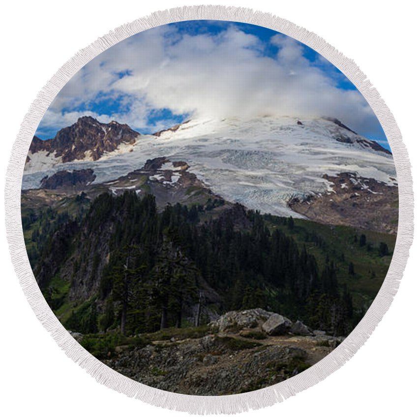 Baker Round Beach Towel featuring the photograph Mount Baker View by Mike Reid