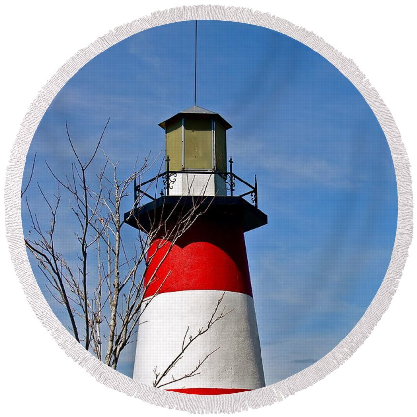Lighthouse Round Beach Towel featuring the photograph Mount Dora Lighthouse Close Up by Denise Mazzocco