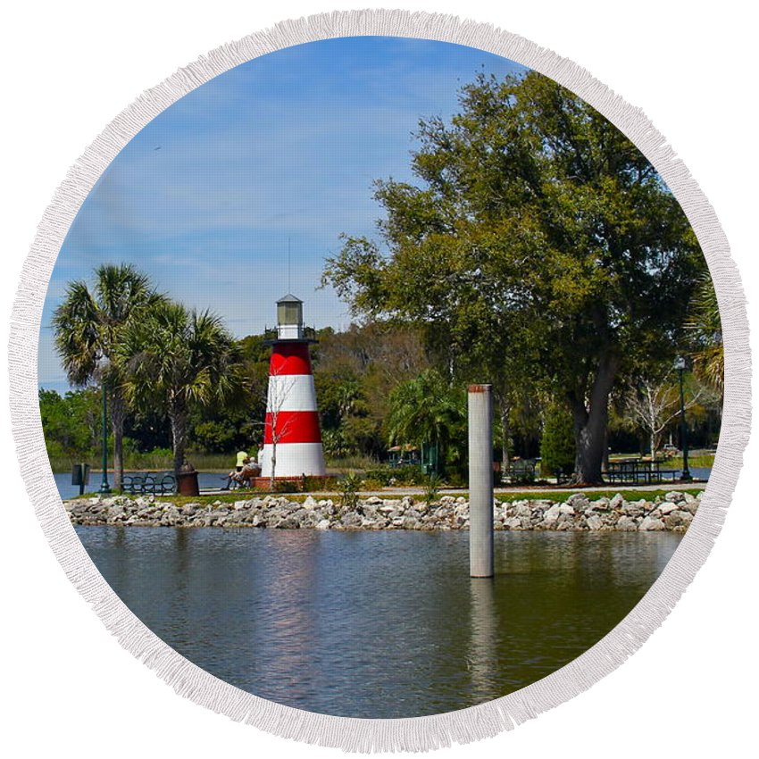 Lighthouse Round Beach Towel featuring the photograph Mount Dora Lighthouse by Denise Mazzocco