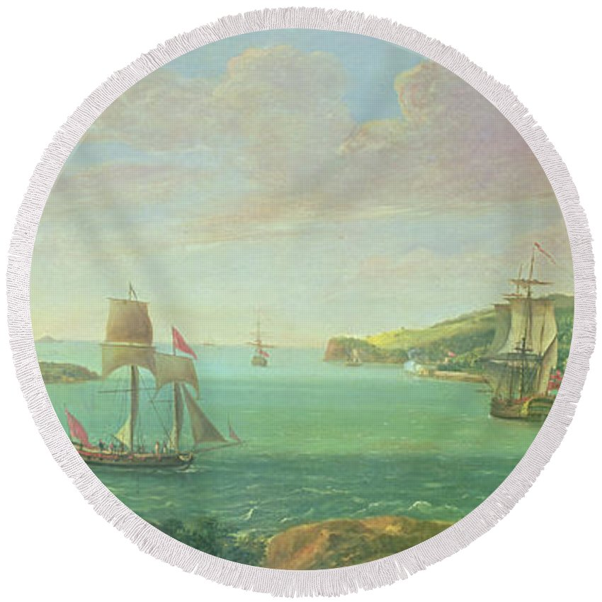 Plymouth Sound Round Beach Towel featuring the painting Mount Edgcumbe by Banfield