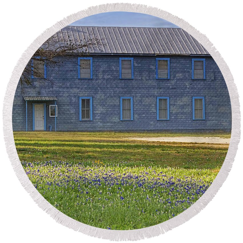 Mount Horeb Masonic Lodge #137 Round Beach Towel featuring the photograph Mount Horeb Masonic Lodge 137 With Bluebonnets by Gary Holmes