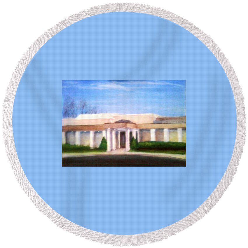 Mount Laurel Round Beach Towel featuring the painting Mount Laurel Library by Sheila Mashaw