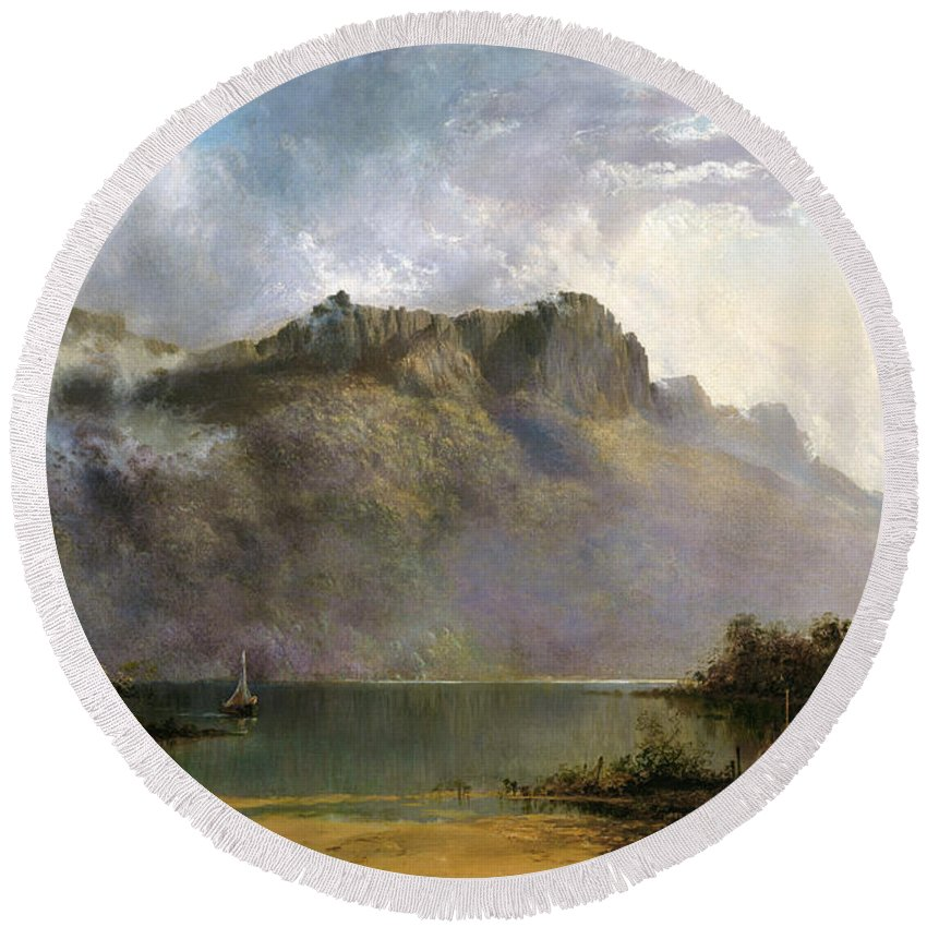 William Charles Piguenit Mount Olympus Round Beach Towel featuring the painting Mount Olympus. Lake St Clair. Tasmania The Source Of The Derwent by William Charles Piguenit