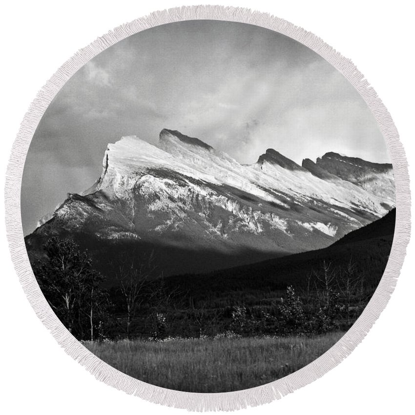 Black And White Round Beach Towel featuring the photograph Mount Rundle At Banff National Park by RicardMN Photography