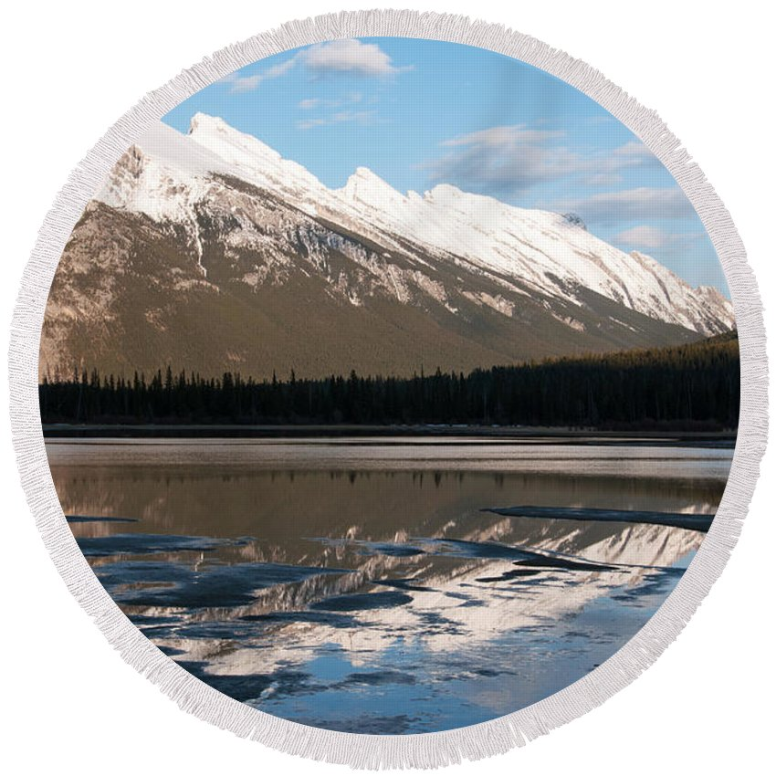 Mount Rundle Round Beach Towel featuring the photograph Mount Rundle Reflections by Vivian Christopher