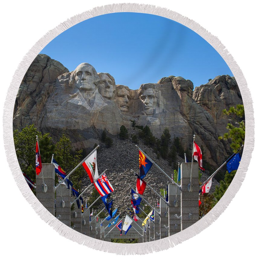 Landscape Round Beach Towel featuring the photograph Mount Rushmore National Memorial by John M Bailey