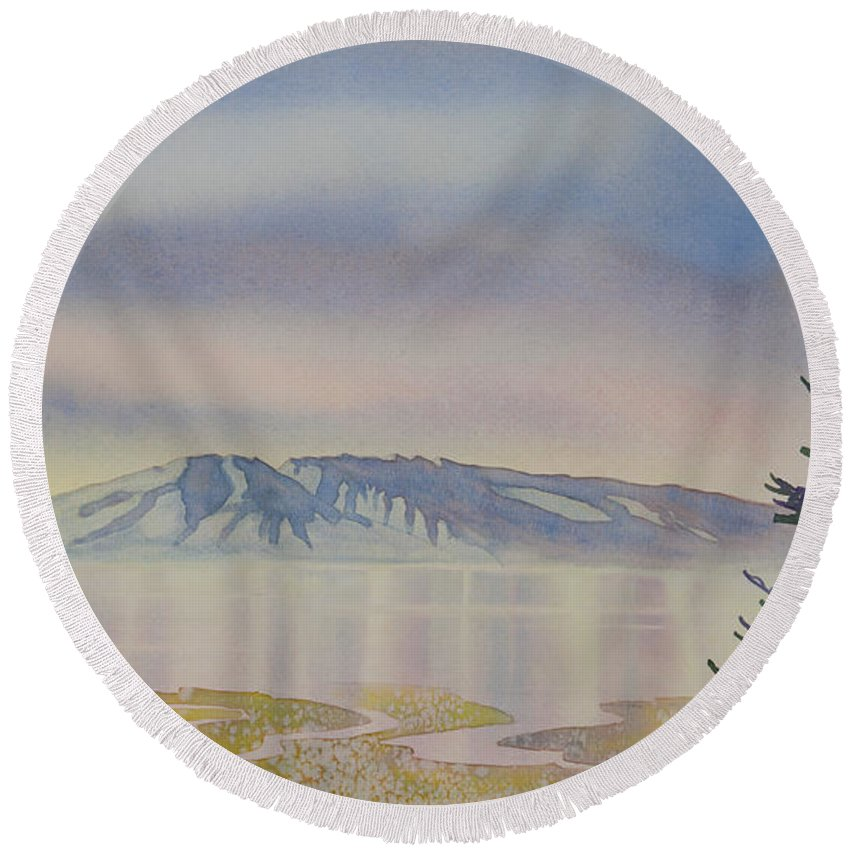 Mount Susitna Round Beach Towel featuring the painting Mount Susitna by Teresa Ascone