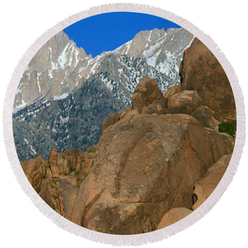 Photography Round Beach Towel featuring the photograph Mount Whitney, Lone Pine, California by Panoramic Images