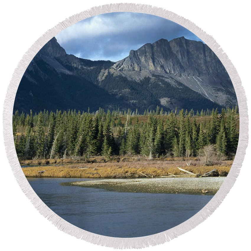 Bow River Round Beach Towel featuring the photograph Mount Yamnuska by Roderick Bley