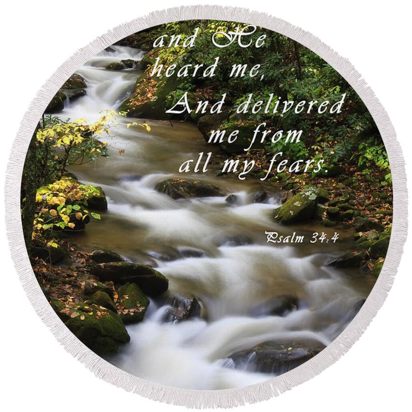 Creek Round Beach Towel featuring the photograph Mountain Creek With Scripture by Jill Lang