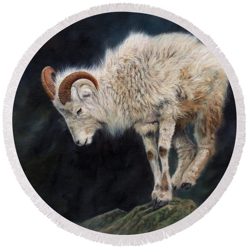 Mountain Goat Round Beach Towel featuring the painting Mountain Goat by David Stribbling
