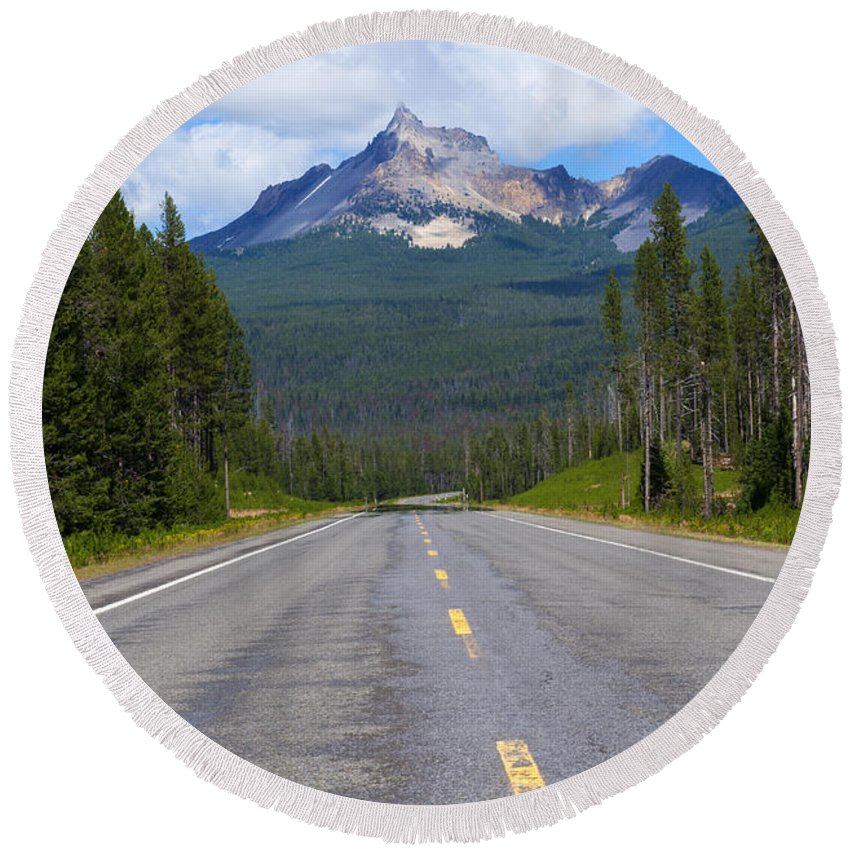 Mt. Thiessen Round Beach Towel featuring the photograph Mountain Highway by Mike Dawson