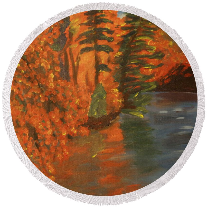 Landscape Round Beach Towel featuring the painting Mountain Lake by David Rodden