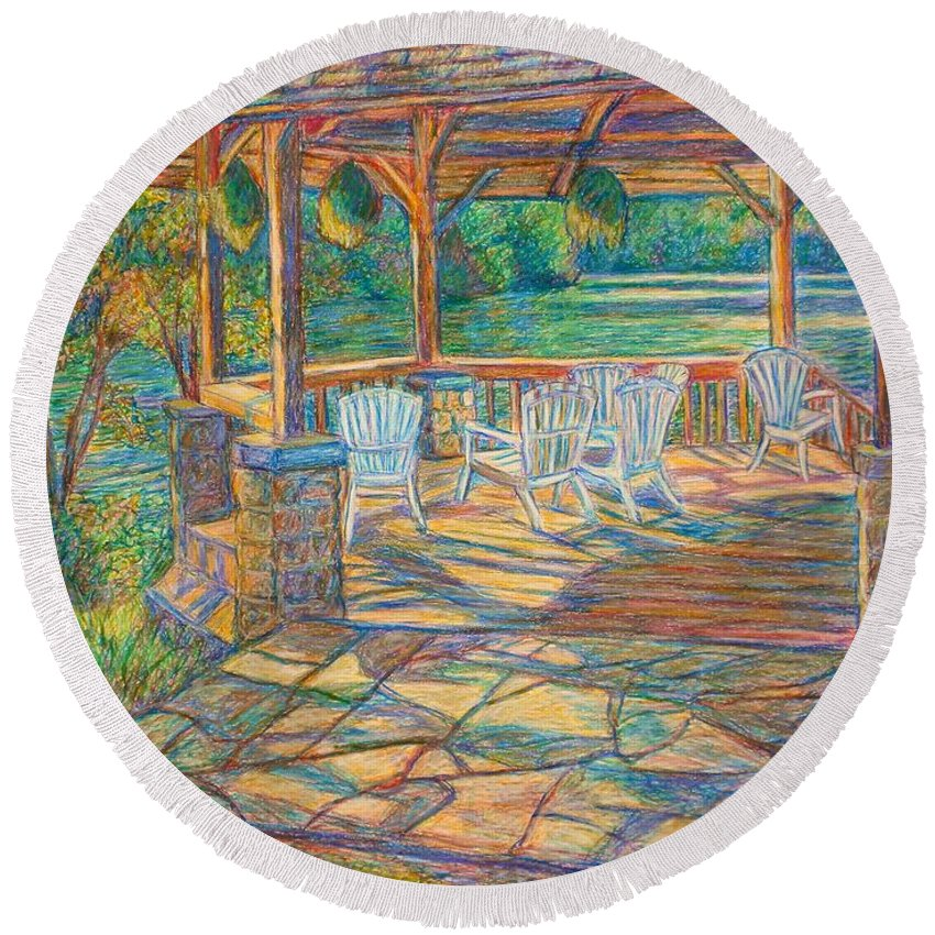 Lake Round Beach Towel featuring the painting Mountain Lake Shadows by Kendall Kessler