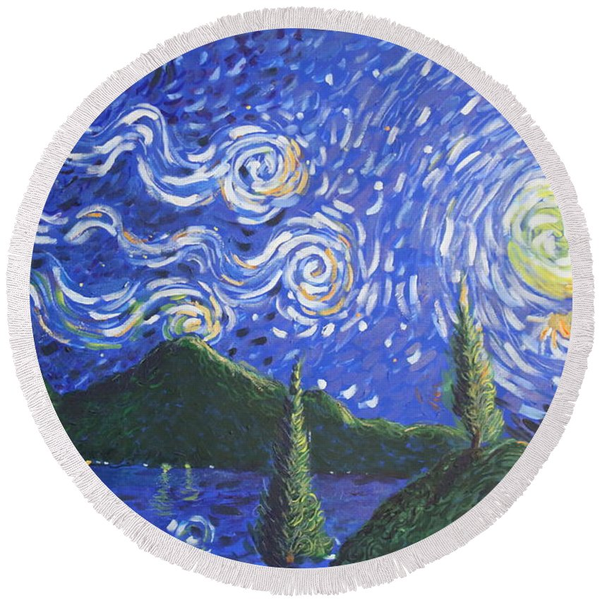 Landscape Round Beach Towel featuring the painting Mountain Loch by Stefan Duncan