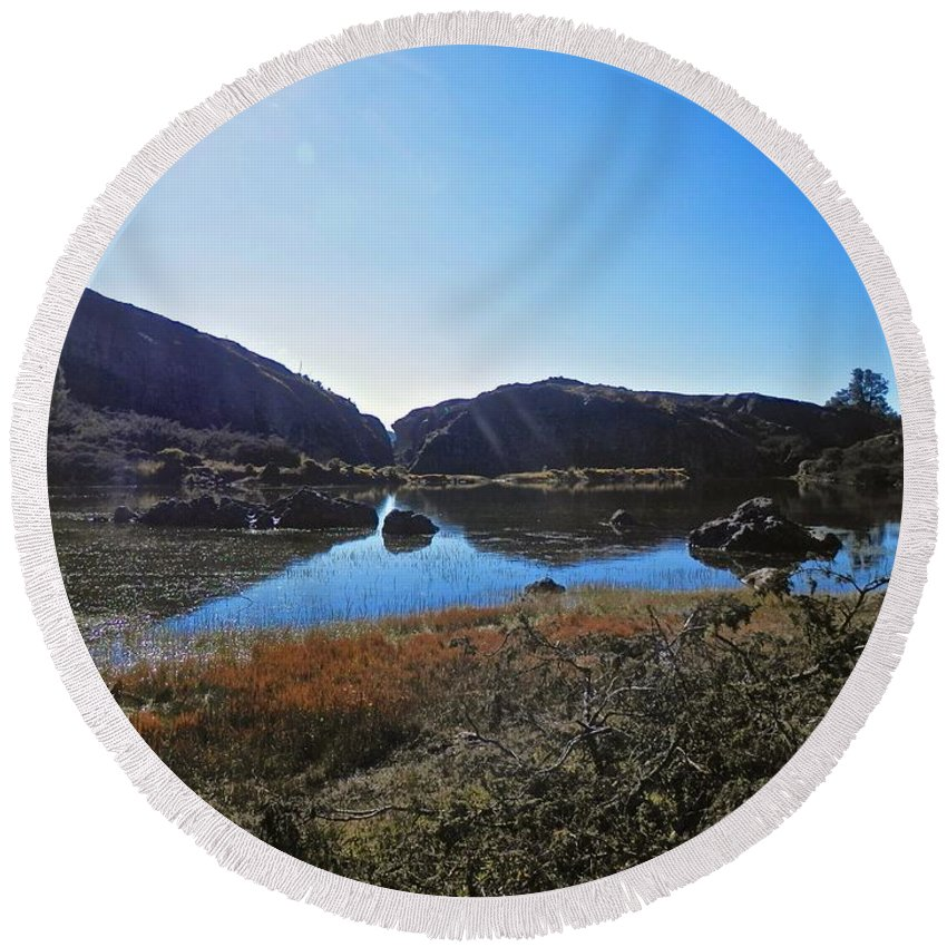 Beautiful Round Beach Towel featuring the photograph Mountain Marshes 4 by Joe Wyman