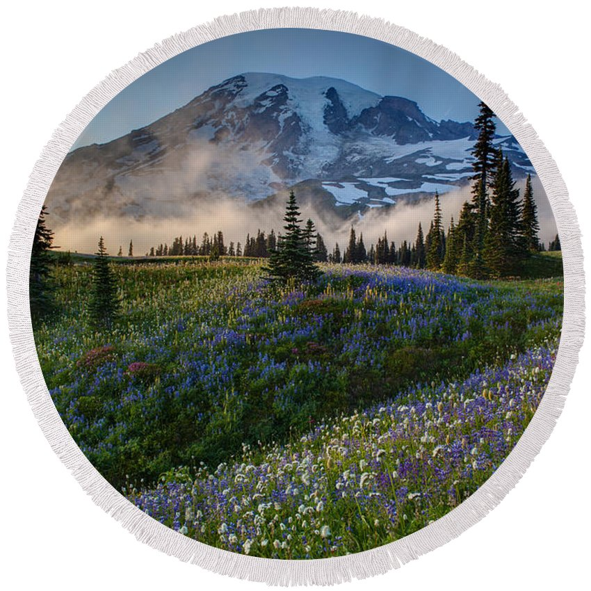 Rainier Round Beach Towel featuring the photograph Mountain Meadow Serenity by Mike Reid