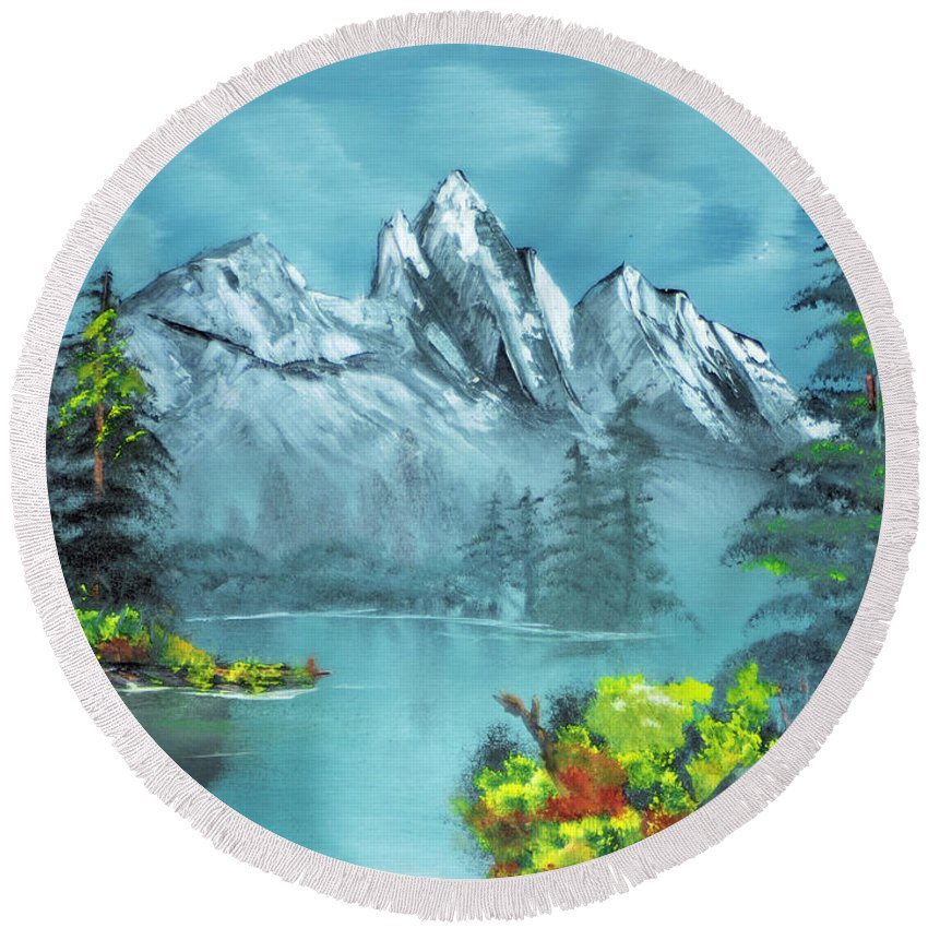 Mountain Lake Pond Meadow Tree Flower Evergreen Reflection Round Beach Towel featuring the painting Mountain Retreat by Michael Daniels
