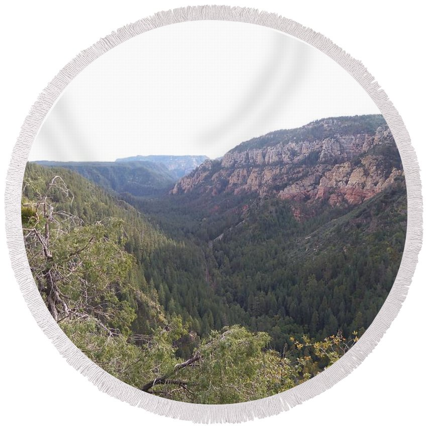 Arizona Round Beach Towel featuring the photograph Mountain Road by Two Bridges North