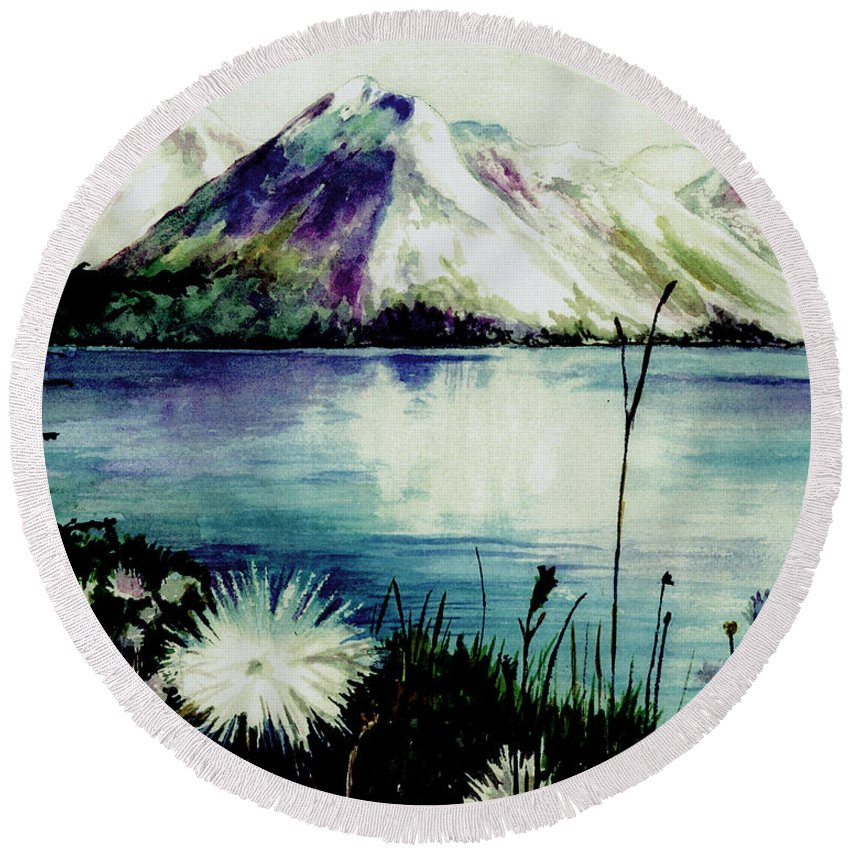 Landscape Round Beach Towel featuring the painting Mountain Serenity by Brenda Owen