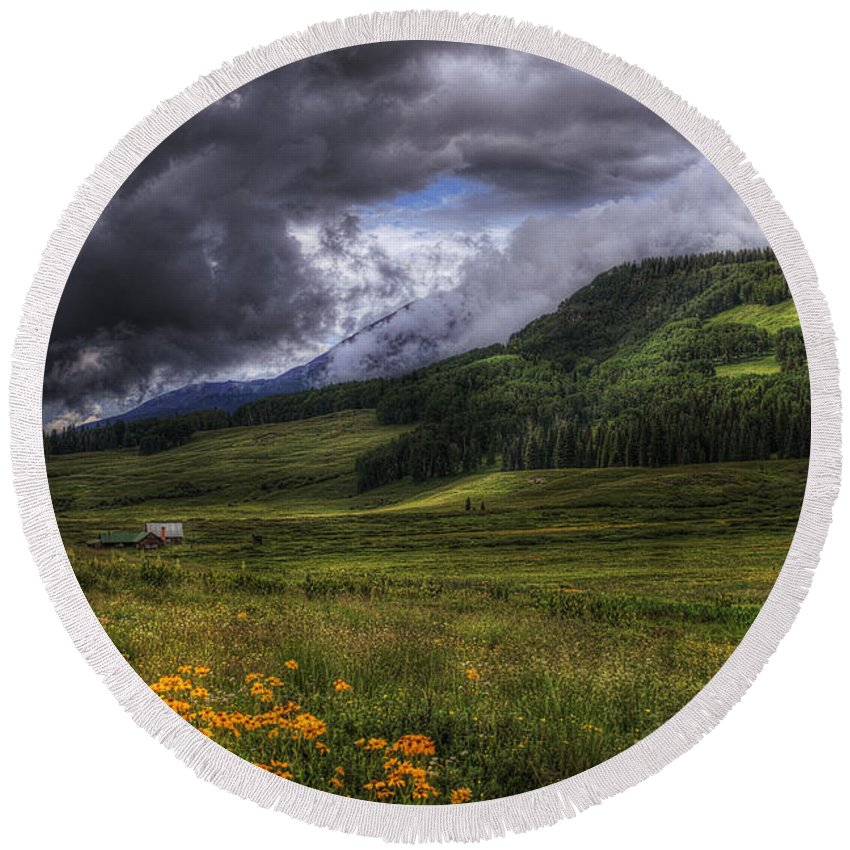 Mountains Round Beach Towel featuring the photograph Mountain Storm by Priscilla Burgers