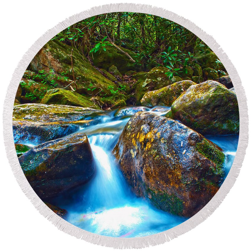 View Round Beach Towel featuring the photograph Mountain Streams by Alex Grichenko