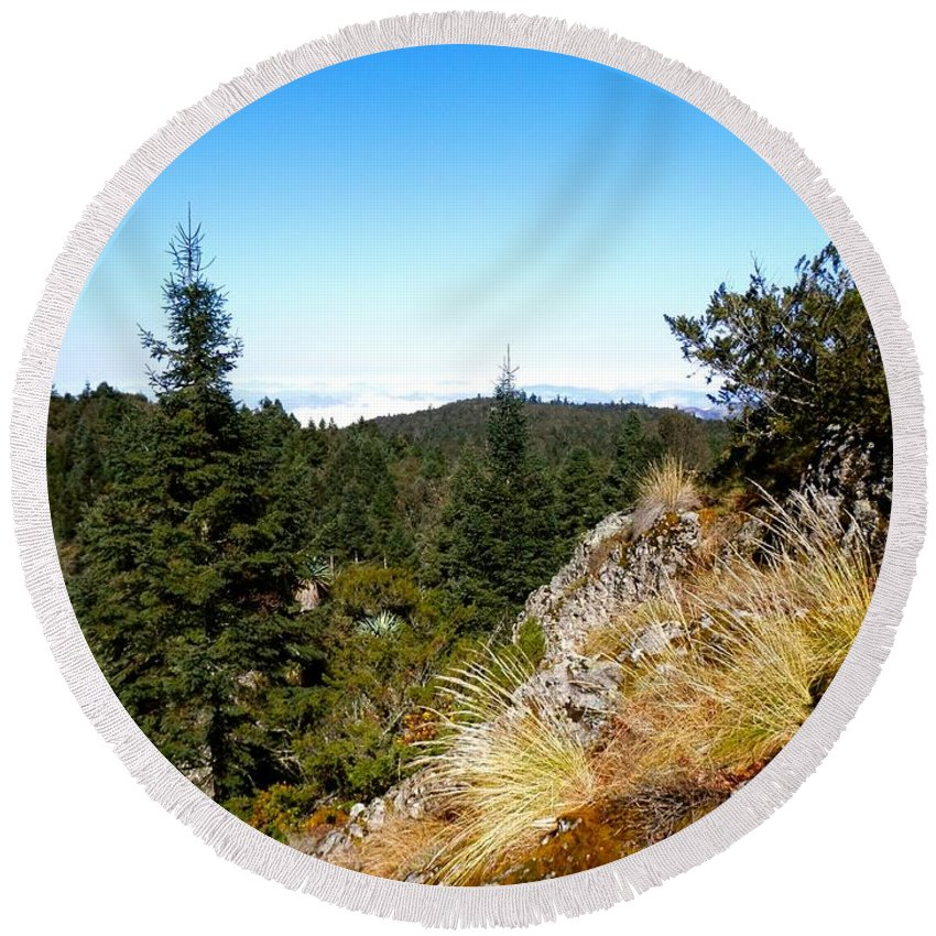 Cool Round Beach Towel featuring the photograph Mountain View by Joe Wyman