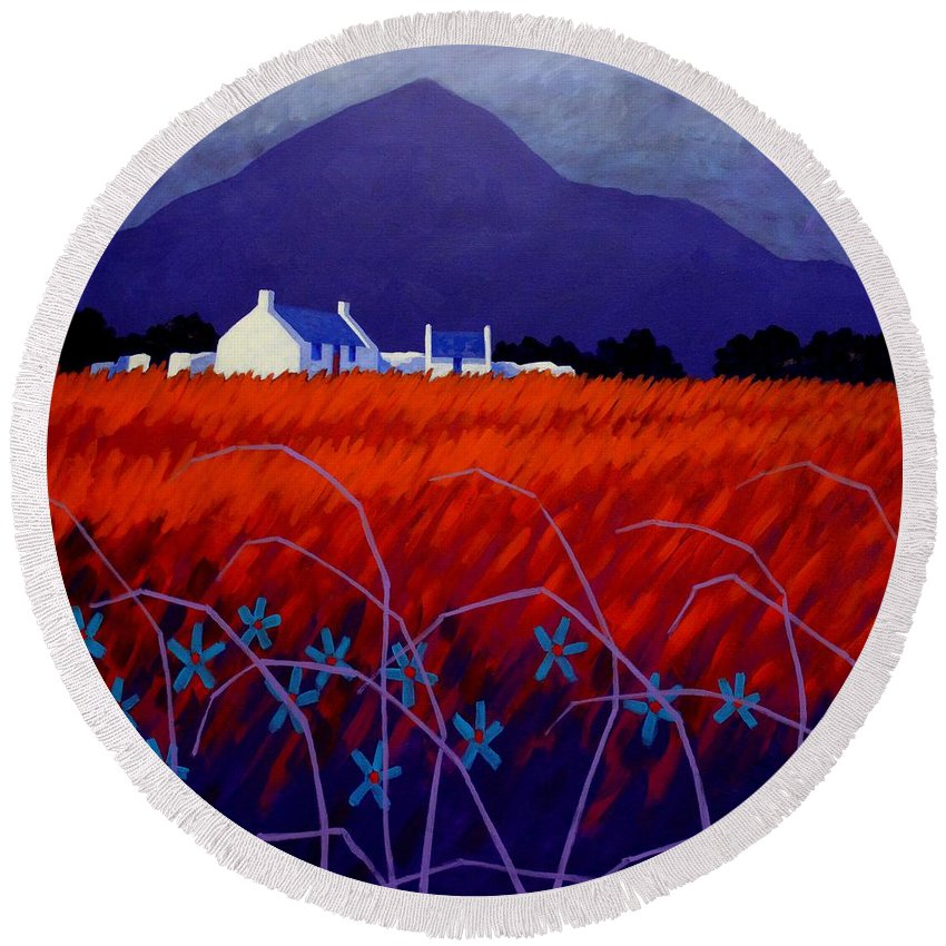 Landscape Round Beach Towel featuring the painting Mountain View by John Nolan