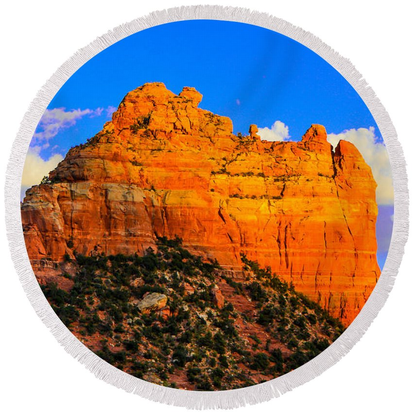 Sedona Round Beach Towel featuring the photograph Mountain View Sedona Arizona by Michael Moriarty