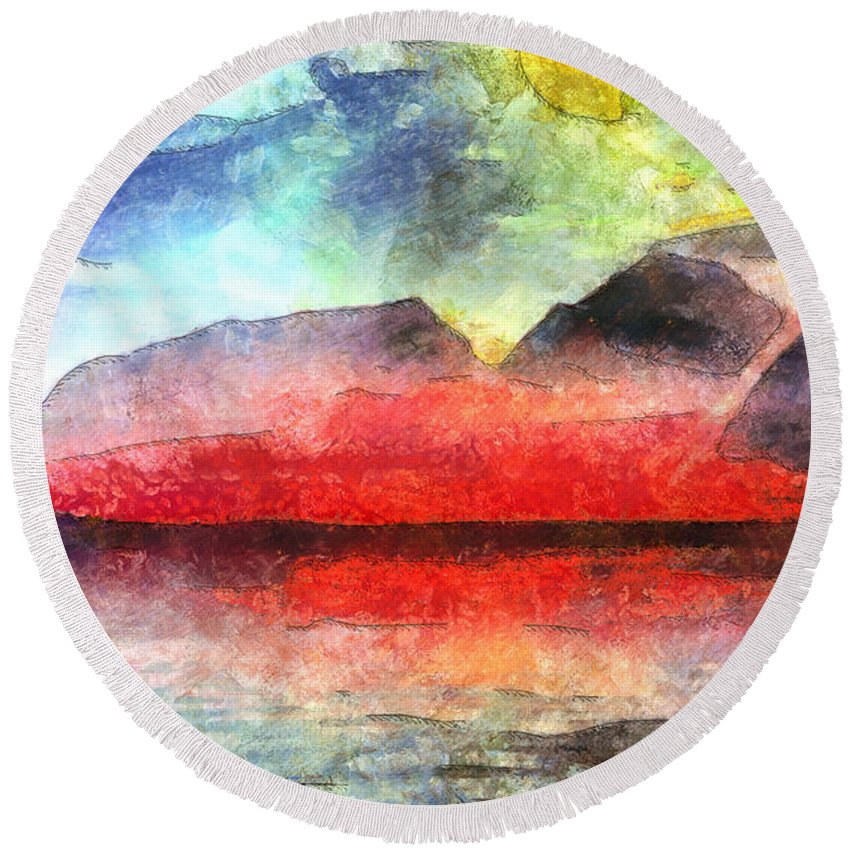 Natural Scenery Round Beach Towel featuring the painting Mountains Of Fire by Mario Carini