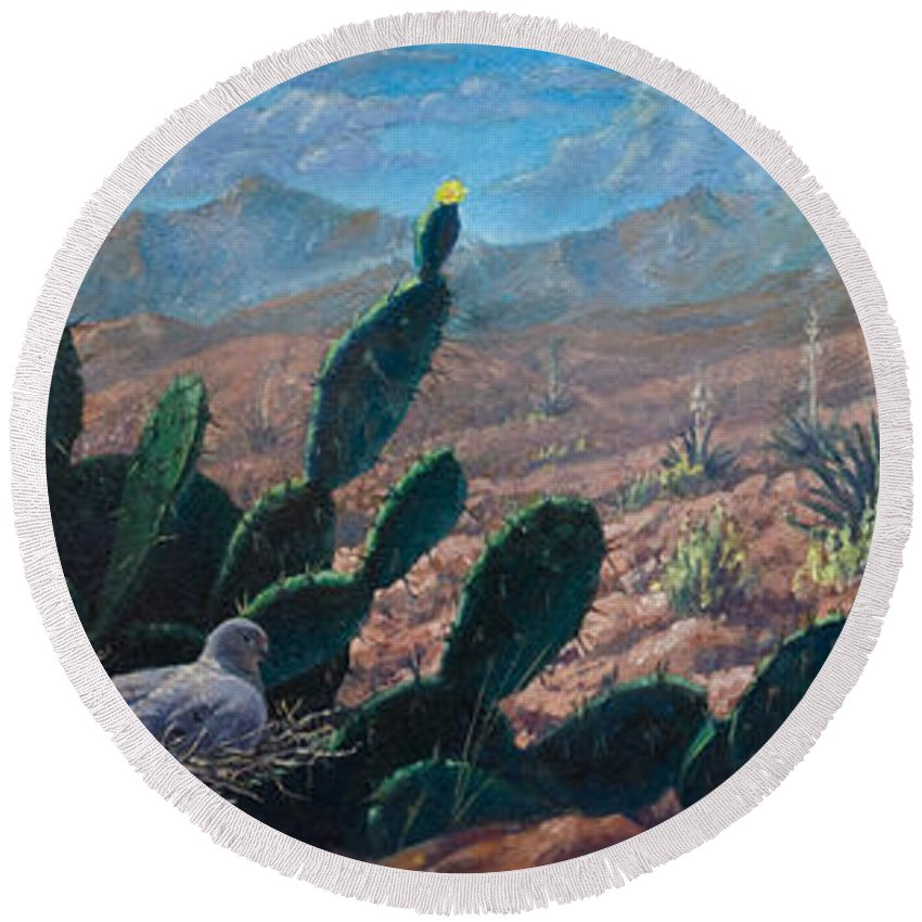 Desert Round Beach Towel featuring the painting Mourning Dove Desert Sands by Rob Corsetti